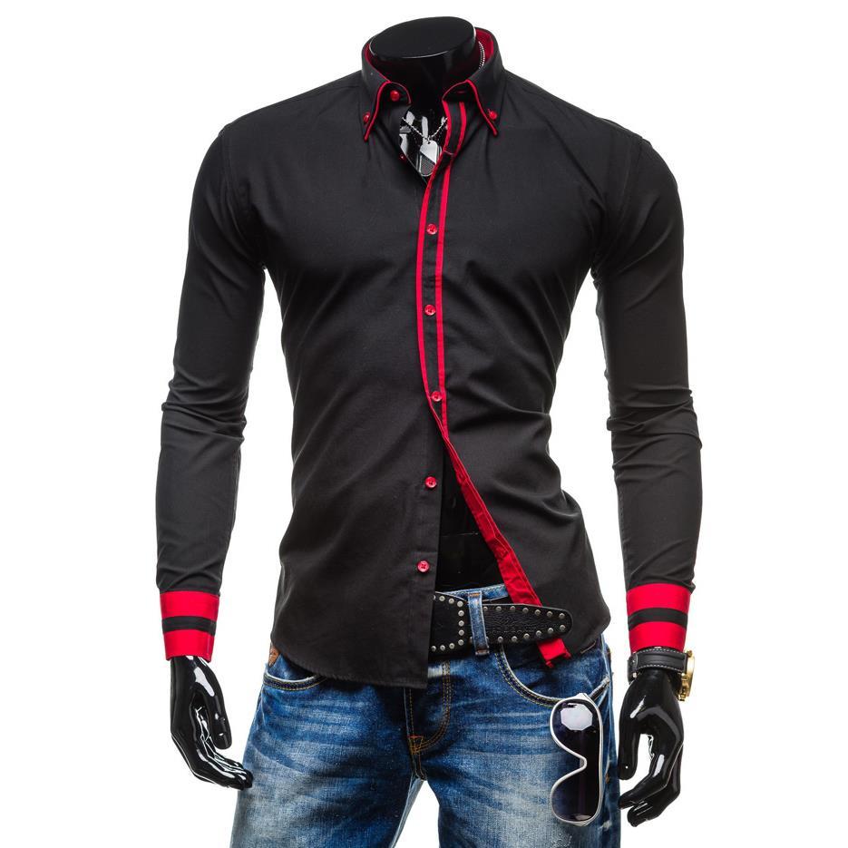 Desain t shirt kerah - 2016 Baru Mens Lengan Panjang Kemeja Tombol Kerah Ganda Desain Unik Slim Fit Merek Kemeja Kamisol