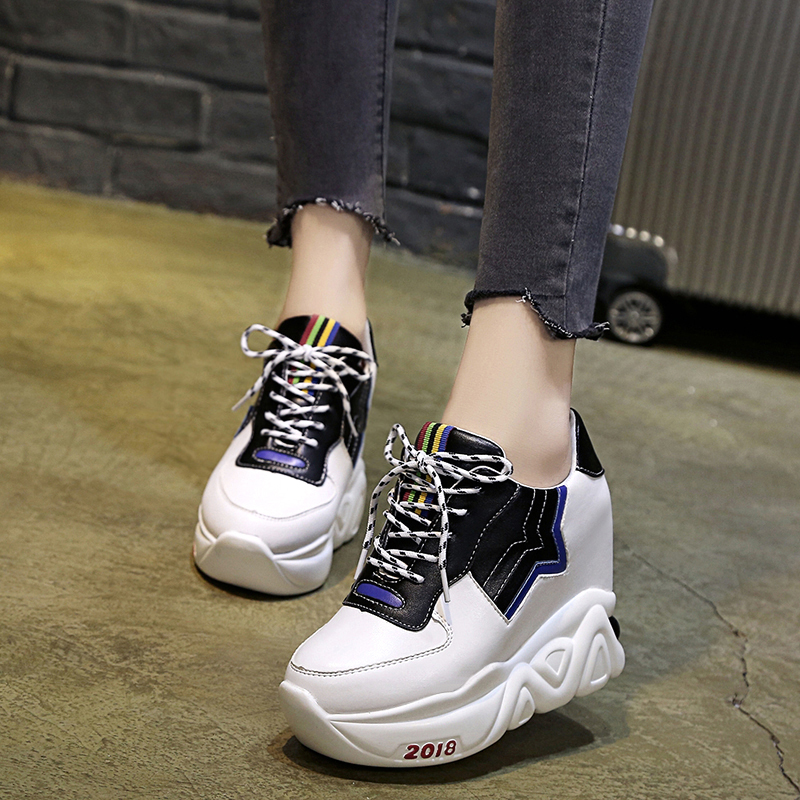 Kjstyrka 2018 Zapatillas Mujer summer autumn Casual mixed color women sneakers fashion increasing ladies wedges platform shoes 4
