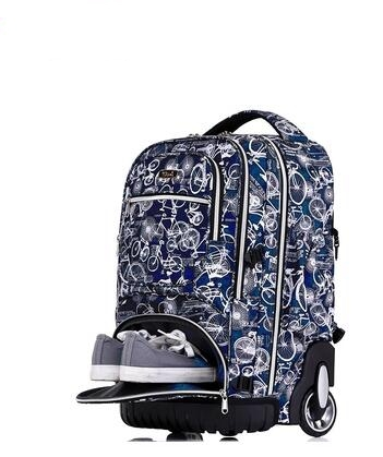 School Rolling Backpack 19 Inch Wheeled Backpack For Boys School Bag On Wheel Children Travel Trolley Backpack Bag For Teenagers in School Bags from Luggage Bags