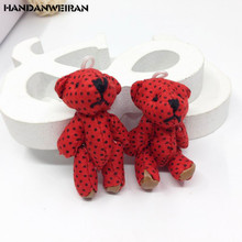 2 pcs/lots 4.5cm joint bear pondering flowers dot dots doll  wedding jewelry gift accessories rose red childrens toys