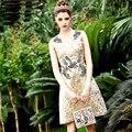 Улица Платье Новый 2016 Лето Европейская Мода Рукавов V-образным Вырезом Золото Алмазы Выше Колена Люкс Новое Платье