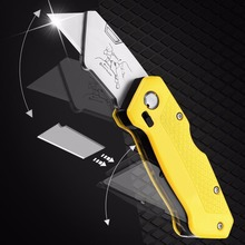 Folding Utility Cutter Quick-change + 5 Blade For Cutting Box Paper Leather Multi Knife DIY Tools