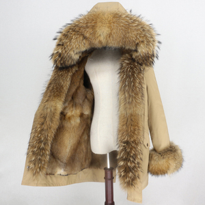 Image 2 - טבעי מינק פרווה בטנה עמיד למים אמיתי Parka פרווה מעיל חורף מעיל נשים דביבון פרווה צווארון הוד חפתים נתיק Streetwear