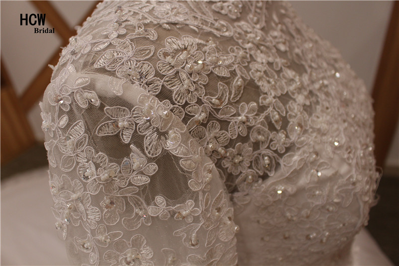 2 meter långt tåg muslimsk bröllopsklänning höghalsad - Bröllopsklänningar - Foto 6