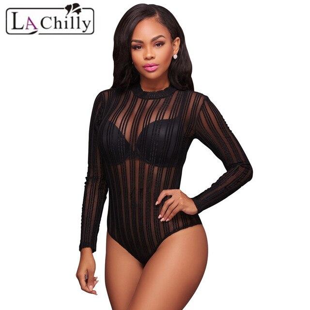 La Chilly Womens Bodysuits One Piece Playsuit Black White Striped Mesh Bodysuit Long Sleeve LC32164 Body Manche Longue Femme