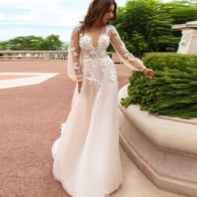 Verngo Appliques Tulle Evening Dress 2019 Flowers Full Sleeve formal dress Custom Made Gown Long Muslim