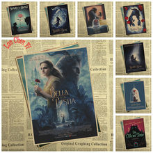 Fantasy love movie Beauty and the Beast Kraft Paper Poster Vintage High quality Printing Drawing core Decorative Painting(China)