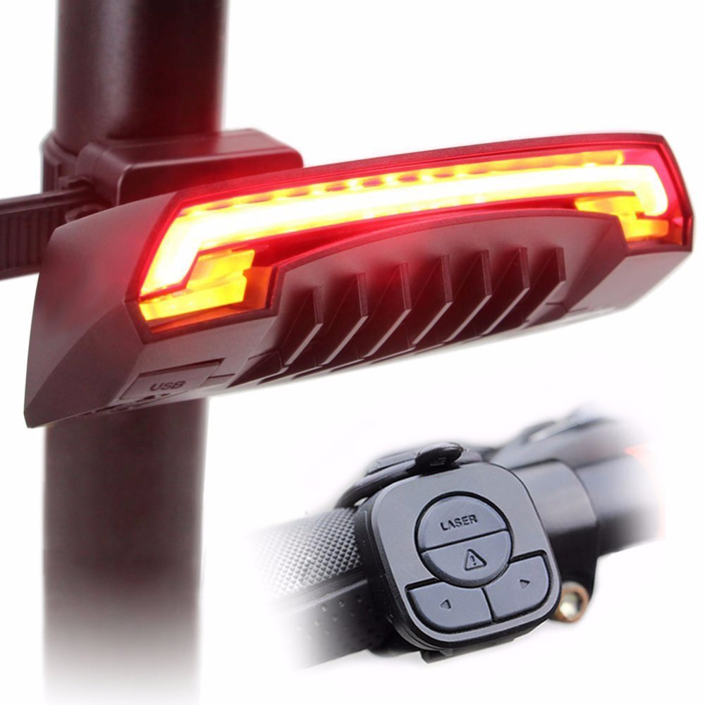Bicycle Lights Flashing Bike LED Light Laser Beam USB Chargeable Wireless Rear Remote Light Turn Signal Tail Cycling Accessories beginagain smart bike wireless laser rear light bicycle remote control turn light safety led warning tail light usb charge