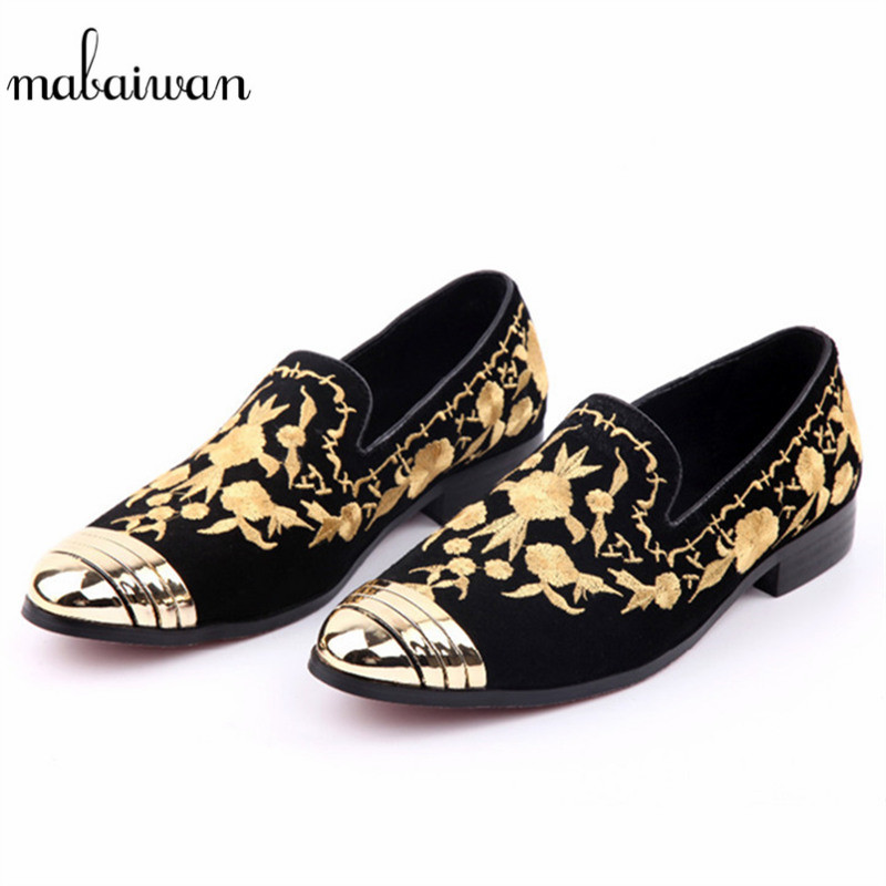 Mabaiwan Fashion Men Loafers Gold Embroidery Slipper Black Suede Loafers Wedding Dress Shoes Men Slip On Handmade leather Flats mabaiwan fashion men shoes handcrafted embroidery flowers designs loafers smoking slipper wedding dress shoes men party flats