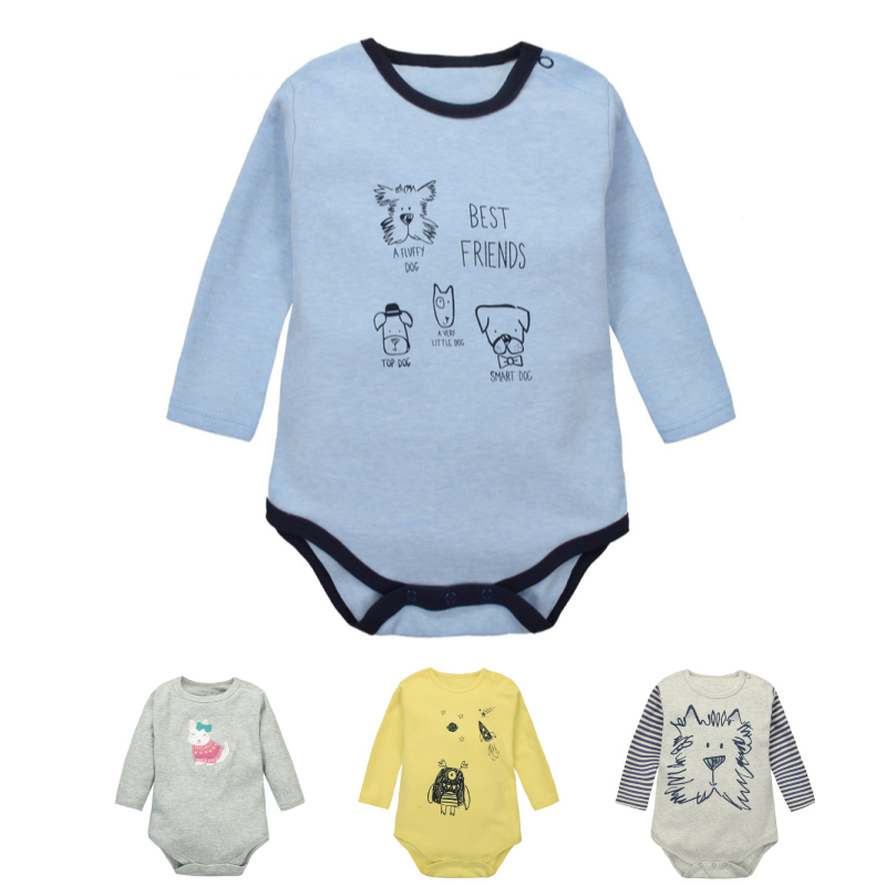 Moms Care Baby Rompers Solid Color 100 Cotton Long Sleeve Baby Wear Spring Autumn Infant Jumpsuit