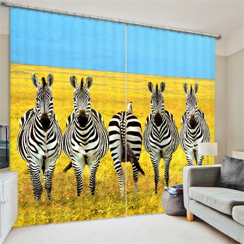 3D African Animal Print Zebra Deer Giraffe Curtains Backdrop Fabric Living Room Bedroom Home Decor Window Blackout Drapes