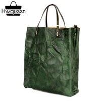 Складчатый дизайнер из натуральной кожи черно зеленый леди Повседневное сумки женские Портативный композитный Сумочка Для женщин один сум