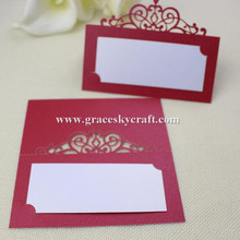 30pcs/lot free shipping Crown Lace Laser Party Table Name Place RSVP Cards Wedding Invitation Name Table holders cards