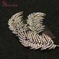 Rhinestone hojas de aleación de las mujeres peinetas nupcial Pelo de La Boda Accesorios adornos para el pelo de La Joyería Headwear horquillas de perforación RE374