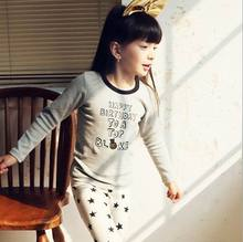 Pink ideal 2015 Spring New Girl Pajamas Star Letter Long Sleeve Underwear Children Clothing 330534