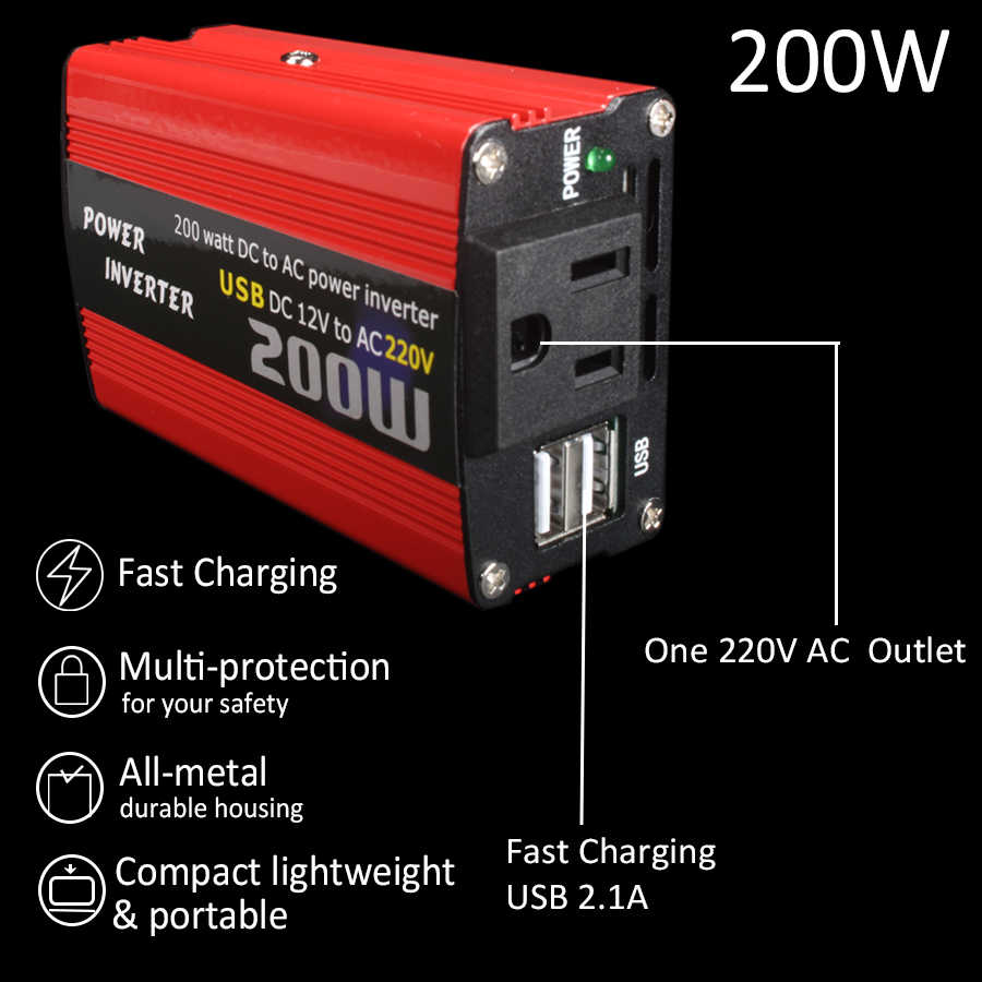 Car 200W Power Inverter 12v 220v Converter DC 12V to AC 220V 110V Portable Auto Modified Sine Wave USB Charger 12 220 180W 150W