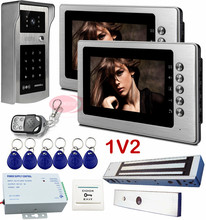 "1V2 Intercom system 7 "" Color Video Door Phones Rfid Inductive Card Keypad Unlock Video Intercom For The House IP55 Waterproof"