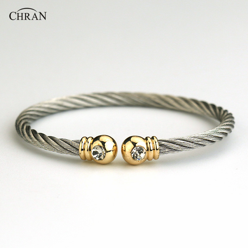 CHRAN Classic Brand Crystal Jewelry Silver Plated Men Women Stainless Steel Twisted Cable Adjustable Cuff Bangle Bracelet