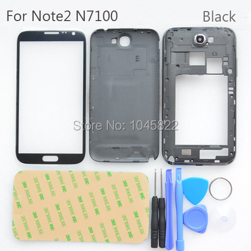 Note 2 Black Full Housing Case Cover Replacement +Outer Screen Glass +Tools  For Samsung Galaxy Note 2 N7100 Free shipping-in Mobile Phone Housings