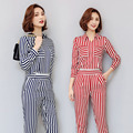 Red Striped Jumpsuit Waist Zipper Overalls Long Sleeves Office Lady Rompers Womens Elegant Combinaison Pantalon Femme LF1005