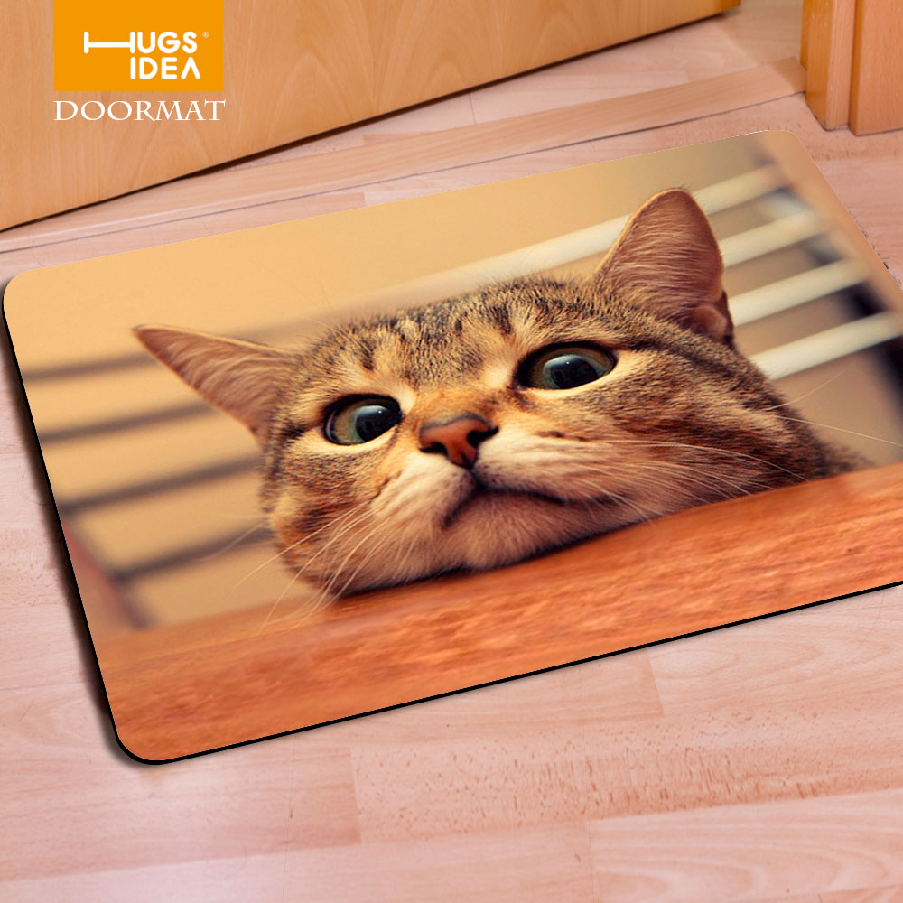 Rubber floor mats for dogs - Hugsidea Funny Front Entrance Mat 3d Cat Dog Animal Floor Carpet For Living Room Bedroom Tapete 40x60cm Soft Rubber Dog Doormat