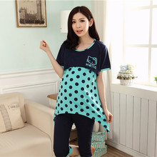Summer Korean Breastfeeding Maternity Suit Set Short-sleeved Sleepwear Nursing Clothes Cotton Dot Hello Kitty Feeding Clothing