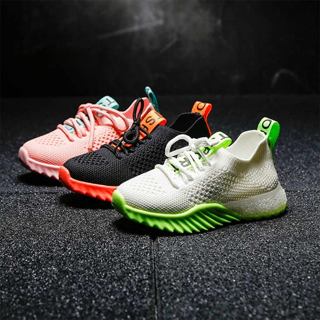 SAGACE Baby Shoes Toddler Unisex Children Kids Baby Girls Boys Letter Mesh Led Luminous Sport Run Shoes Casual Sneakers JUN25