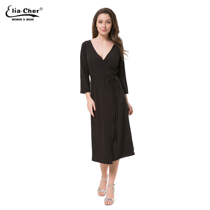 New Womens Black Long Sleeve Dress Eliacher Brand Casual Plus Size Fitted  V-NeckParty Wear To Work Dress Sashes Vestido 8700 684db9d9cb80