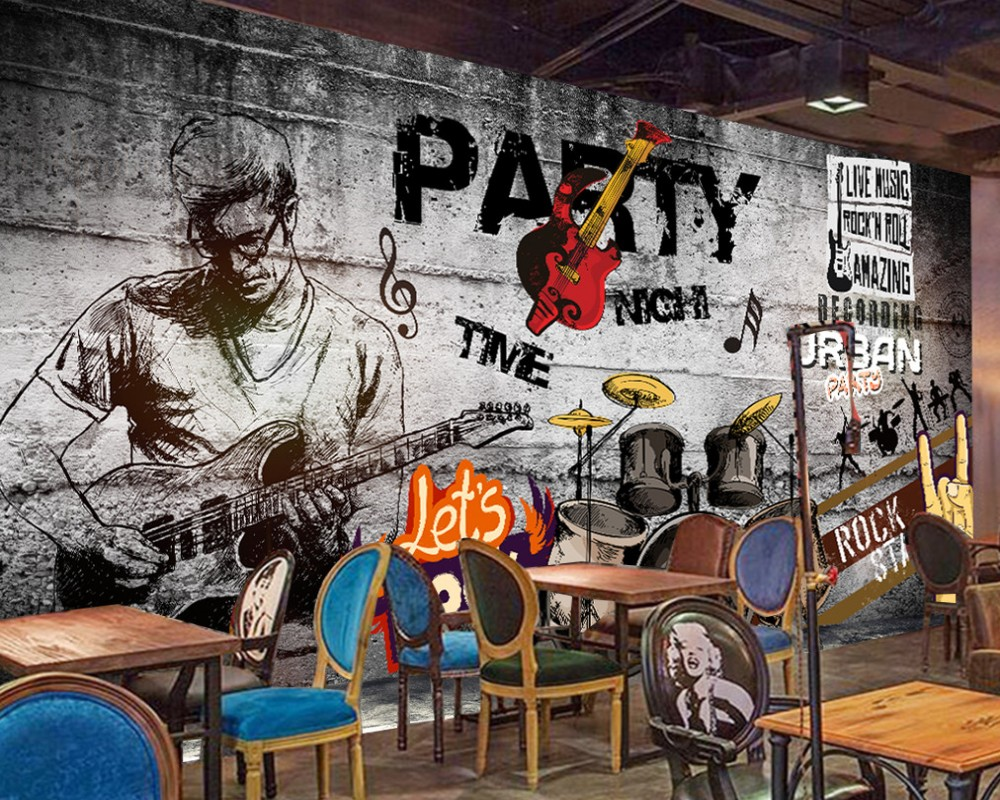 Free Shipping Retro Vintage Hand-Painted Hip Hop Rock Music Bar KTV Background Wall Party Wallpaper Custom 3D Music Bar Mural free shipping 3d retro motorcycle wallpaper leisure bar ktv cafe restaurant tv sofa background armor rider brick wallpaper mural