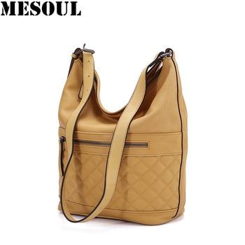 New 100% Soft Genuine Leather Bucket Bag Female Crossbody Bag Lingge Design Fashion Handbags Luxury Classic Women Shoulder Bags