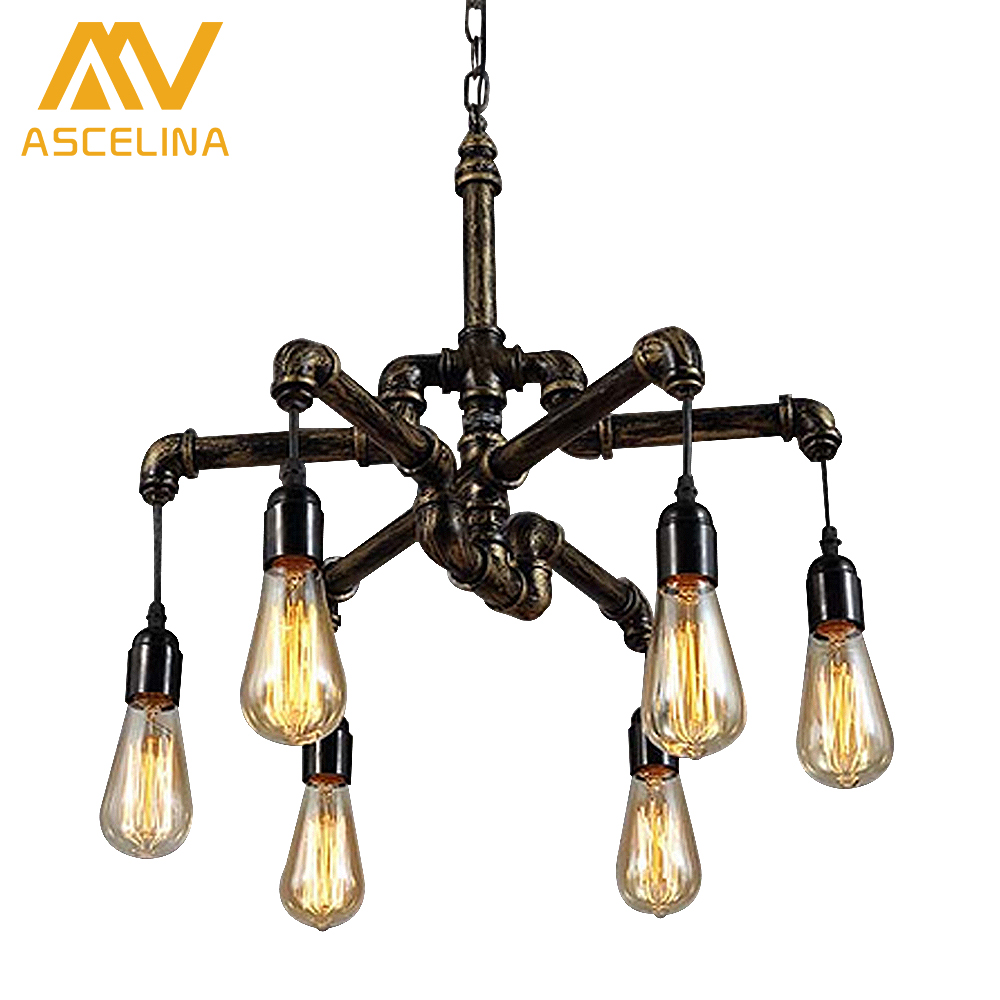 Water pipe loft style lamp edison pendant lights fixtures vintage water pipe loft style lamp edison pendant lights fixtures vintage industrial hanging lamp for dining room bar bar lights in ceiling lights from lights arubaitofo Images