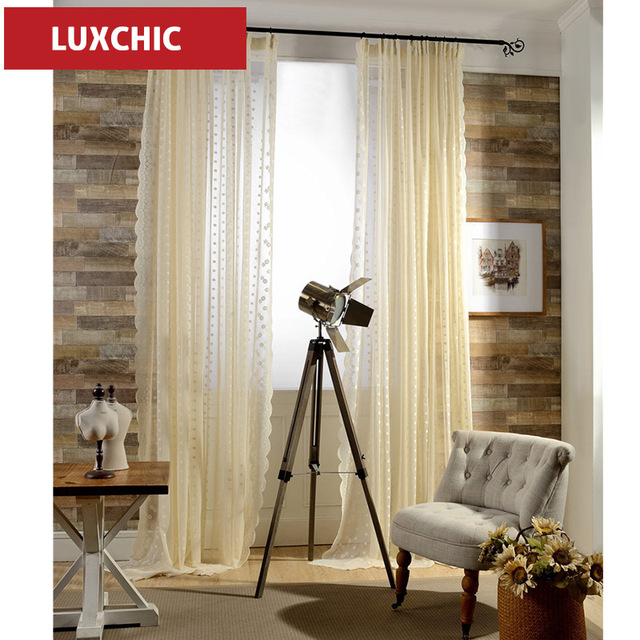 Europäischen Gelbe Bestickt Voile Vorhänge Schlafzimmer Gardinen Für  Wohnzimmer Tüll Gardinen/Panels Fenster Screening