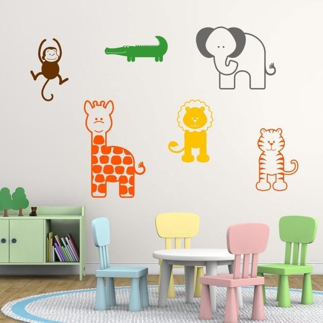Giraffe Elephant Tiger Lion Monkey And Crocodile Jungle Wall Art Animal Transfers Childrens Nursery