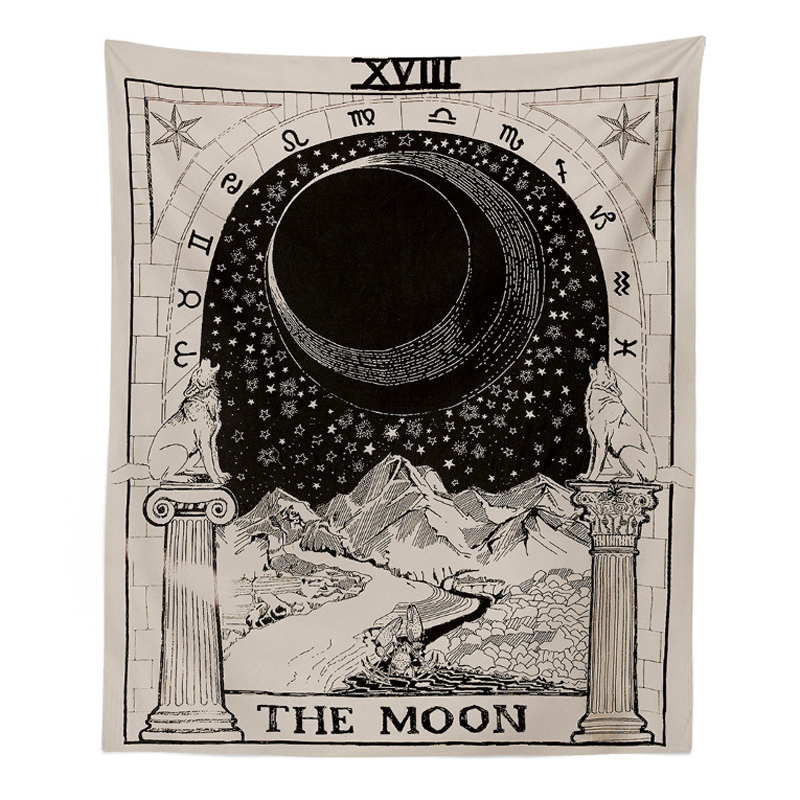 130x150cm Star Moon Sun Printed Large Carpet Magical Tarot Style Wall Hanging Tapestry Rug Blanket For Home Wall Decoration