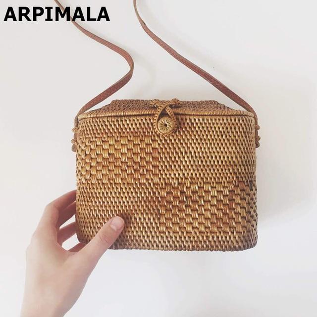 8d695fec91 ARPIMALA Bali Small Rattan Bags Handmade Beach Bag for Women Mini Summer  Straw Bag Holiday Handbags Wicker Cross body Bag
