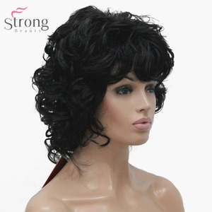 Image 4 - StrongBeauty Womens Synthetic Wig Natural Hair Blonde/Black Hairpiece Short Curly Wigs