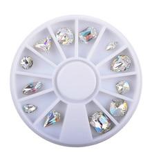 2017 12pcs New 3D Nail Art Decorations Fancy AB Crystals Sharp Bottom  Iridescence Fire Diamond  Diy Nail Jewelry