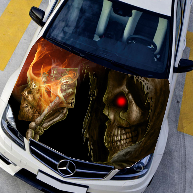 Customizable hd skull hood decal car bonnet graffiti stickers protective film auto graphics decals engine cover