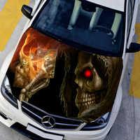 Personnalisable HD crâne capot décalcomanie voiture Bonnet Graffiti autocollants Film de protection Auto graphique décalcomanies moteur couverture Camouflage