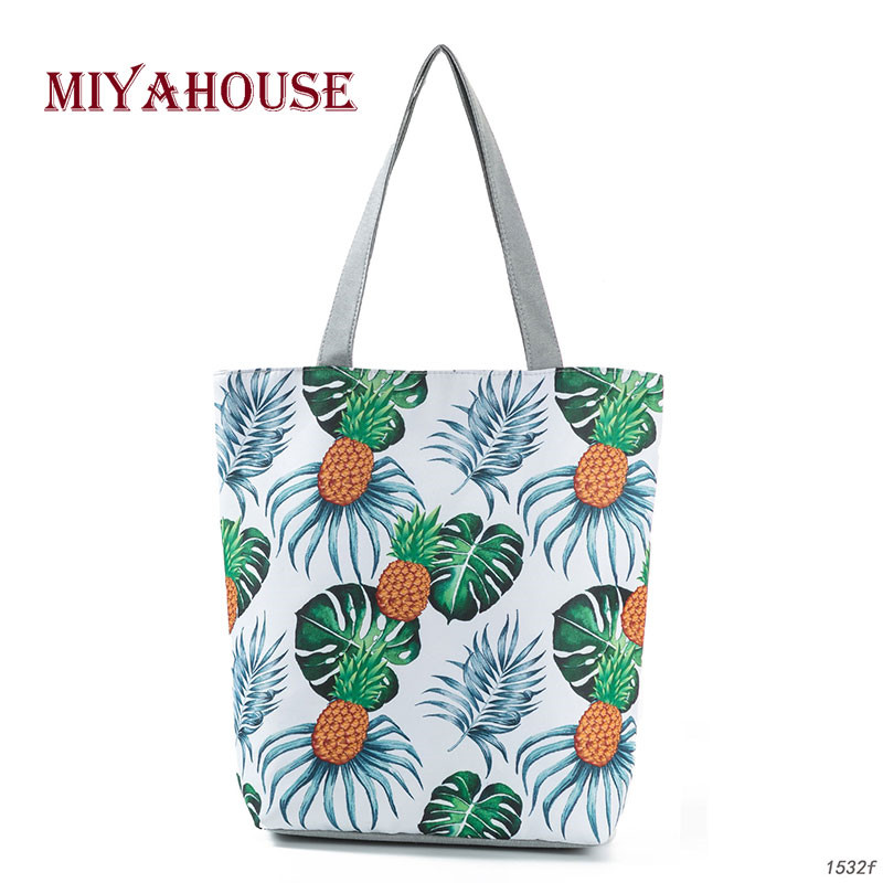 Sale Canvas Tote Bag Casual Beach Bags Pineapple Design Shoulder Shopping Bags For Female