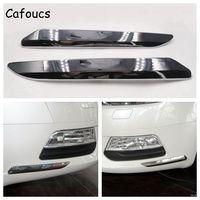 Cafoucs For Citroen C5 2008 2015 Car Front Bumper Chrome Silver Trim Strip Decoration Cover 9682198677