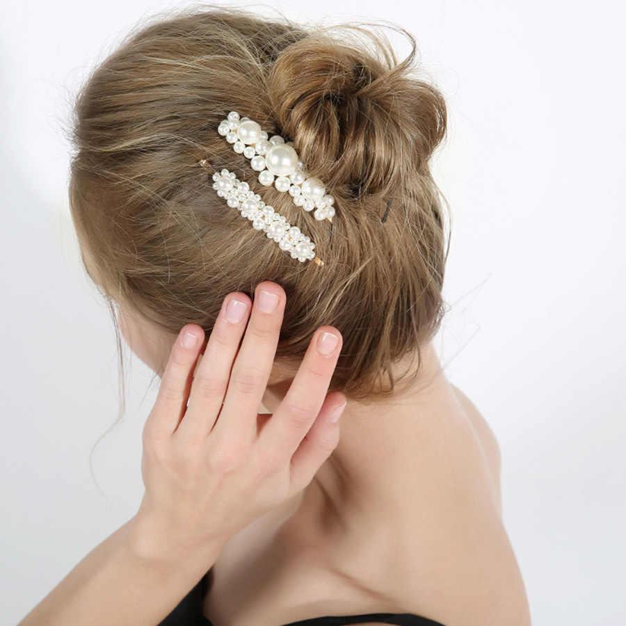 Заколки для волос AOMU, заколки для волос с жемчугом ручной работы в Корейском стиле, аксессуары для волос