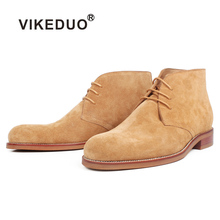 VIKEDUO Autumn Genuine Cow Suede Men's Boots Solid Brown Bespoke Flat Leather Ankle Boots For Men Wedding Casual Military Shoes zsuo brand genuine leather men boots cow suede leather boots men military desert ankle boots brown fashion men shoes botas hombr