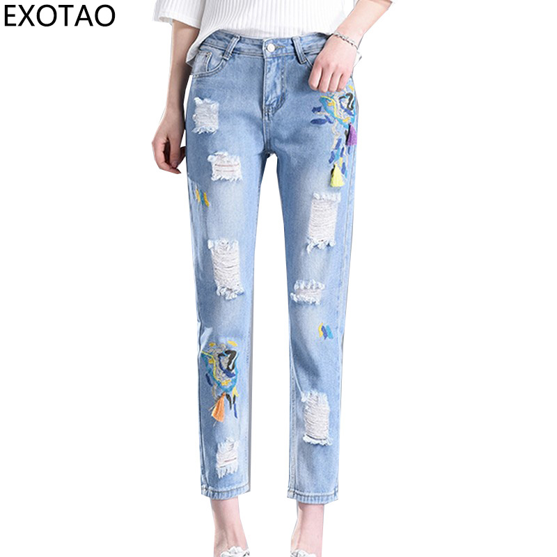 EXOTAO Embroidery Ripped Jeans for Women Ankle Length Denim Pants Female Pencil Trousers New Fashion Vaqueros Summer Jeans 2017 2017 spring new women sweet floral embroidery pastoralism denim jeans pockets ankle length pants ladies casual trouse top118