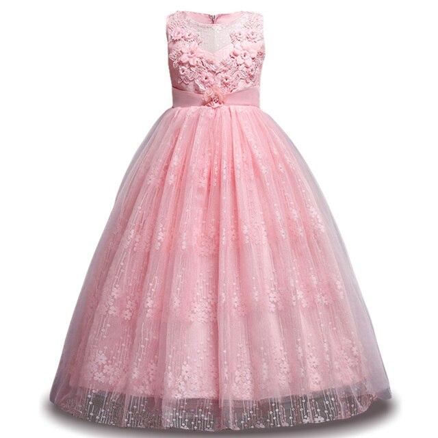 Anak Anak Panjang Gaun Pesta Gaun Elegan Untuk Anak Perempuan Renda