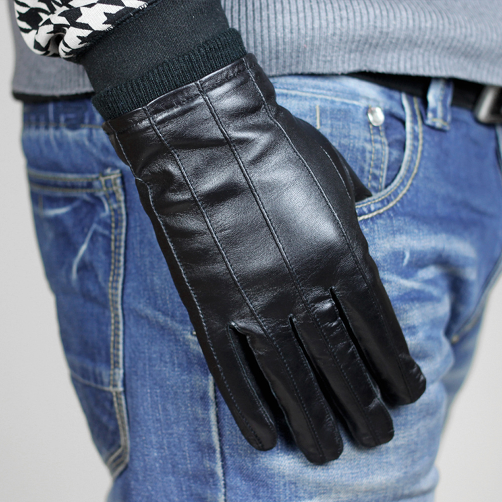 Mens leather insulated gloves - 2016 Autumn Winter Fashion Driving Men Male Gentlemen Warm Sheepskin Gloves Genuine Leather Thinsulate Cashmere Lined