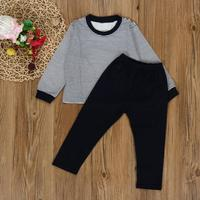 Mooistar 5075 Toddler Kids Boys Outfit Clothes Stripe Long Sleeve T Shirt Tops Long Pants