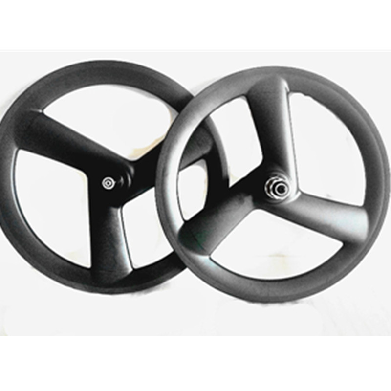 Excellent carbon 3 spokes wheels bicycle carbon 3 spokes wheelset 3K UD 20in 406 3 spokes wheels 100x9mm 130x9mm V brake 20in wheels 7