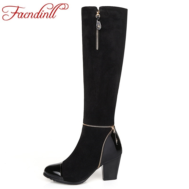 ФОТО genuine leather women's autumn winter knee high boots fashion brand black shoes woman high heels boots style for ladies big size