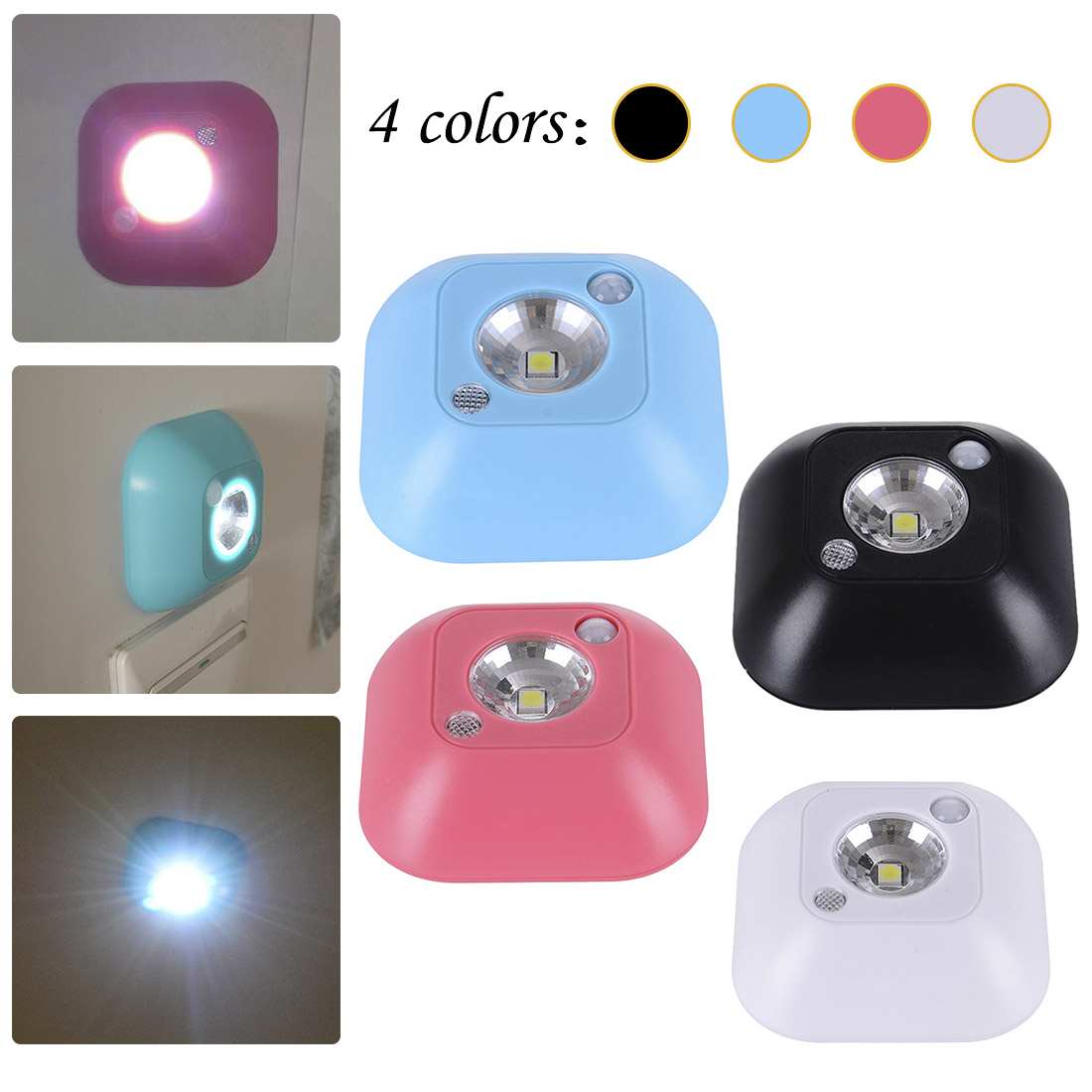 Wardrobe Cabinet Night Lamp Battery Powered Mini LED Wireless Night Light Infrared Motion Activated Sensor Lights Wall Emergency